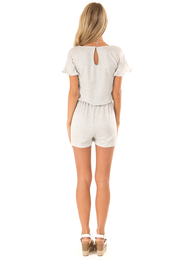 Heather Grey Striped Romper with Waist Tie and Pockets back full body