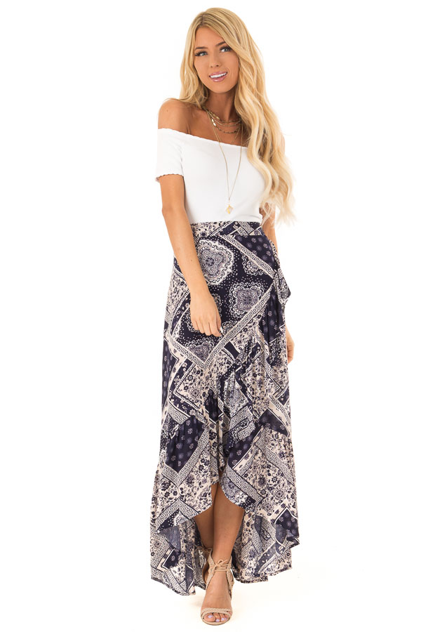 Dark Indigo Bohemian Patchwork Skirt with Wrap Style Front front full body