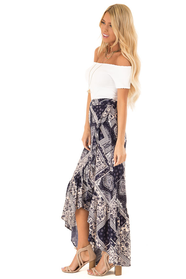 Dark Indigo Bohemian Patchwork Skirt with Wrap Style Front side full body