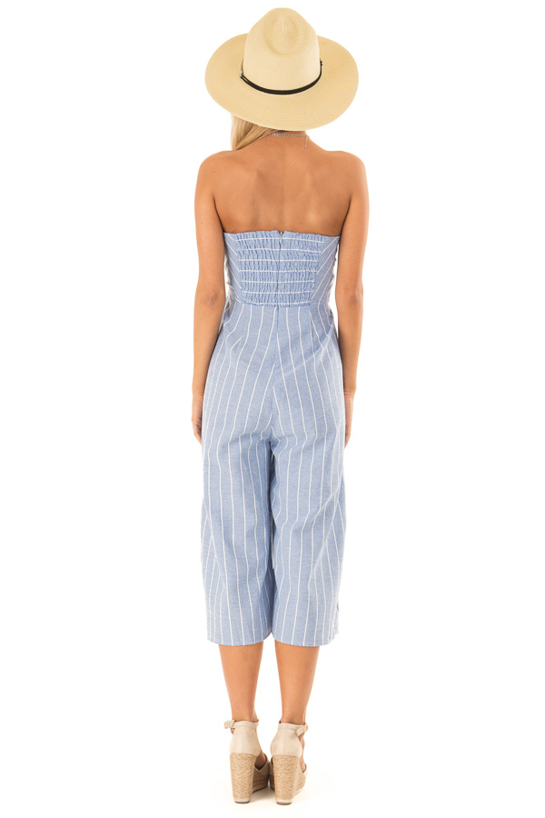 Light Denim Blue Striped Strapless Jumpsuit with Bust Tie back full body