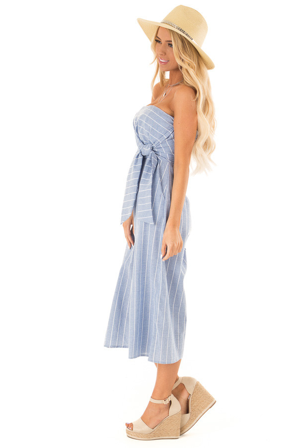 Light Denim Blue Striped Strapless Jumpsuit with Bust Tie side full body