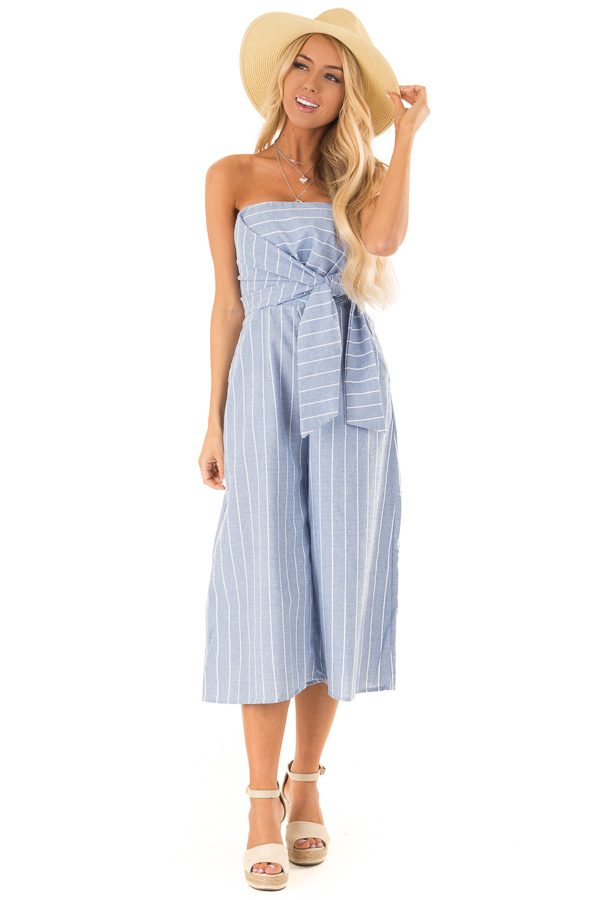 Light Denim Blue Striped Strapless Jumpsuit with Bust Tie front full body