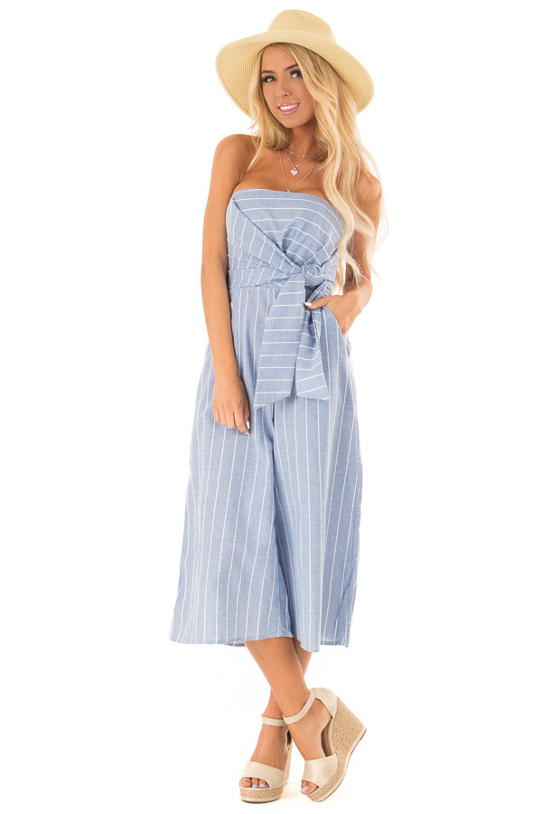Light Denim Blue Striped Strapless Jumpsuit with Bust Tie front close up