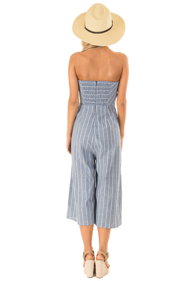 Medium Denim Blue Striped Strapless Jumpsuit with Bust Tie back full body