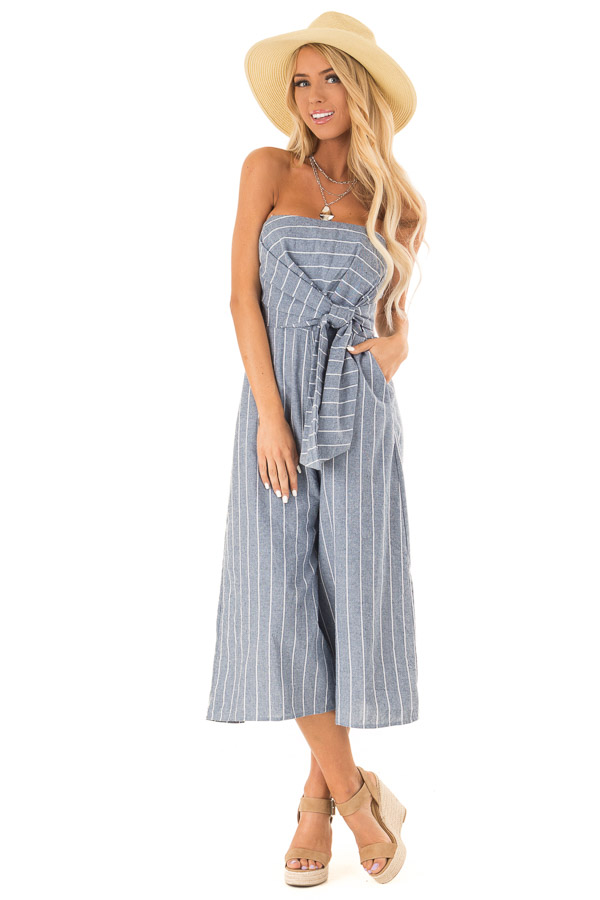 Medium Denim Blue Striped Strapless Jumpsuit with Bust Tie front full body