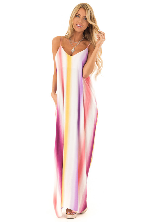 Plum Multicolor Ombre Striped Spaghetti Strap Maxi Dress front full body