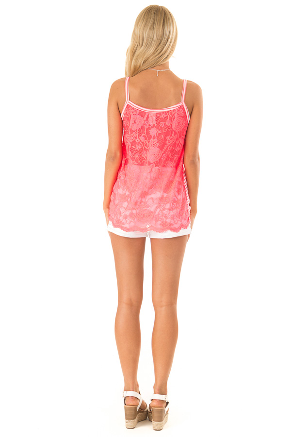 Neon Pink Striped Tank with Lace and Twisted Front Detail back full body