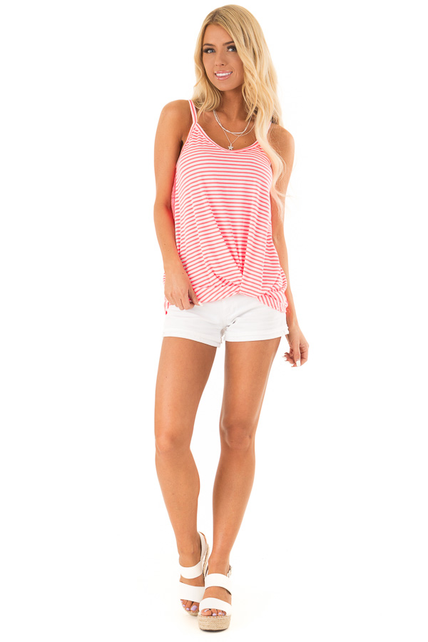 Neon Pink Striped Tank with Lace and Twisted Front Detail front full body