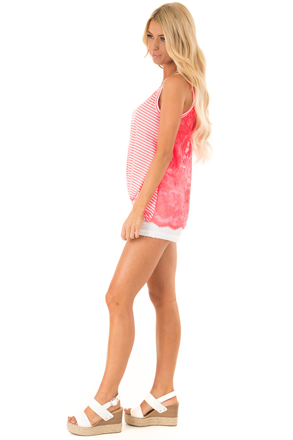 Neon Pink Striped Tank with Lace and Twisted Front Detail side full body