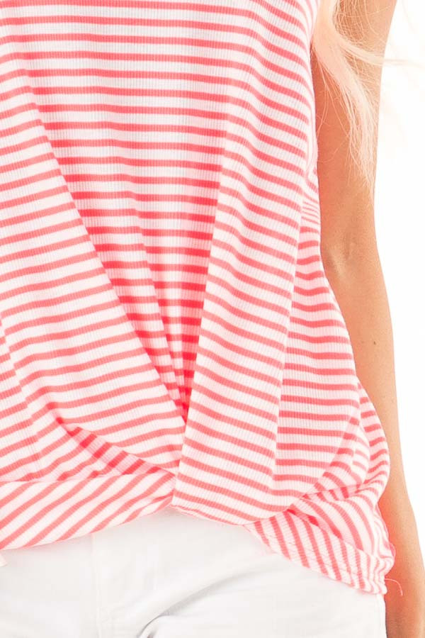 Neon Pink Striped Tank with Lace and Twisted Front Detail detail