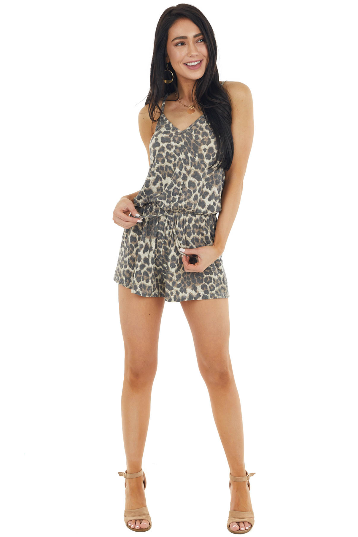Oatmeal Leopard Sleeveless Romper with Criss Cross Back
