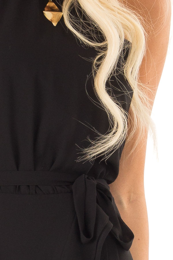Obsidian Black Dress with Wrap Style Skirt and Ruffle Trim detail