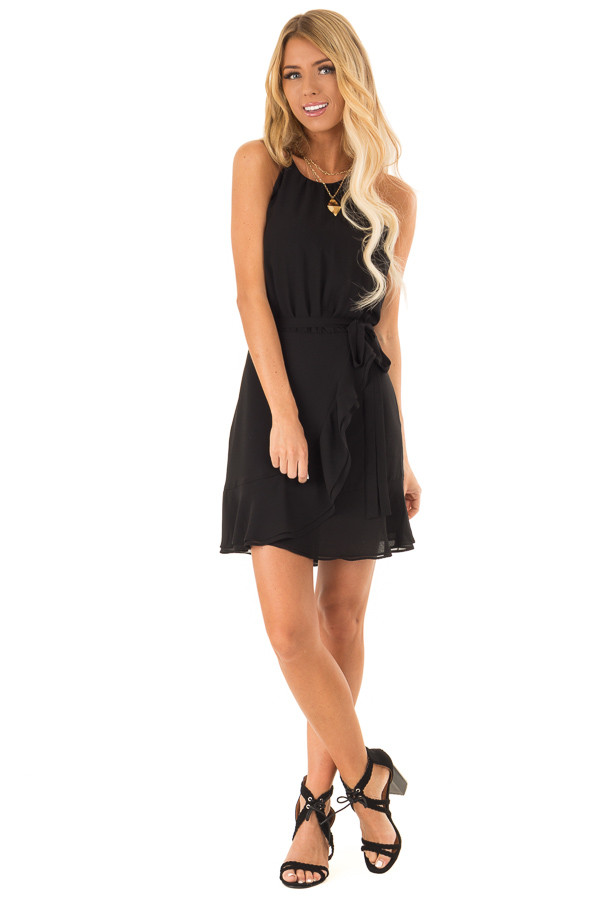 Obsidian Black Dress with Wrap Style Skirt and Ruffle Trim front full body