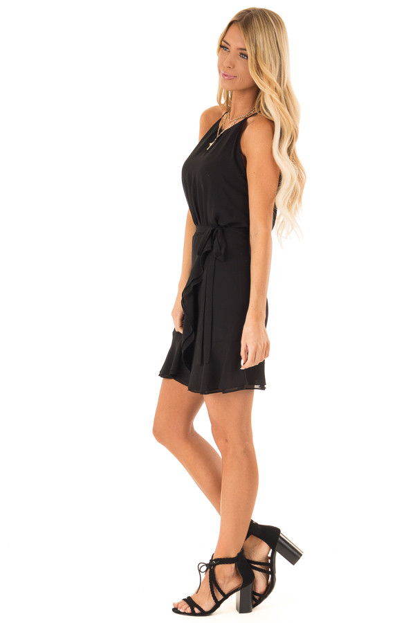 Obsidian Black Dress with Wrap Style Skirt and Ruffle Trim side full body