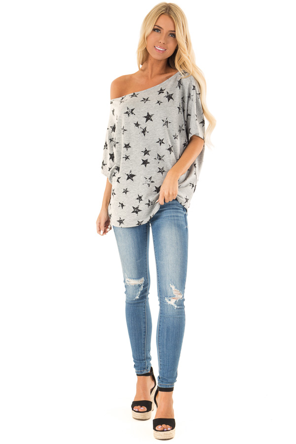 Heather Grey Distressed Star Off Shoulder Top front full body