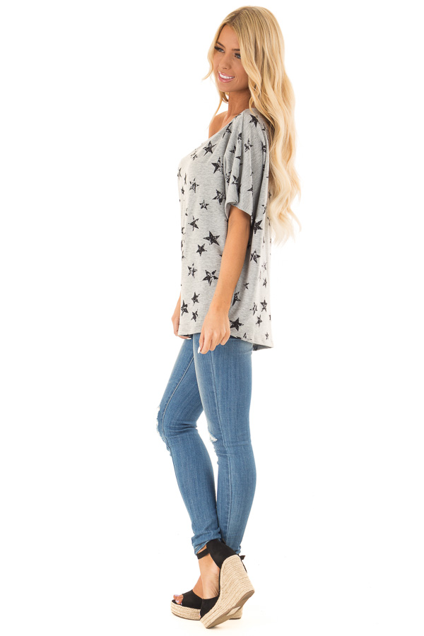 Heather Grey Distressed Star Off Shoulder Top side full body