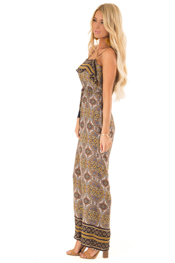 Mustard Multi Print Sleeveless Jumpsuit with Ruffle Overlay side full body
