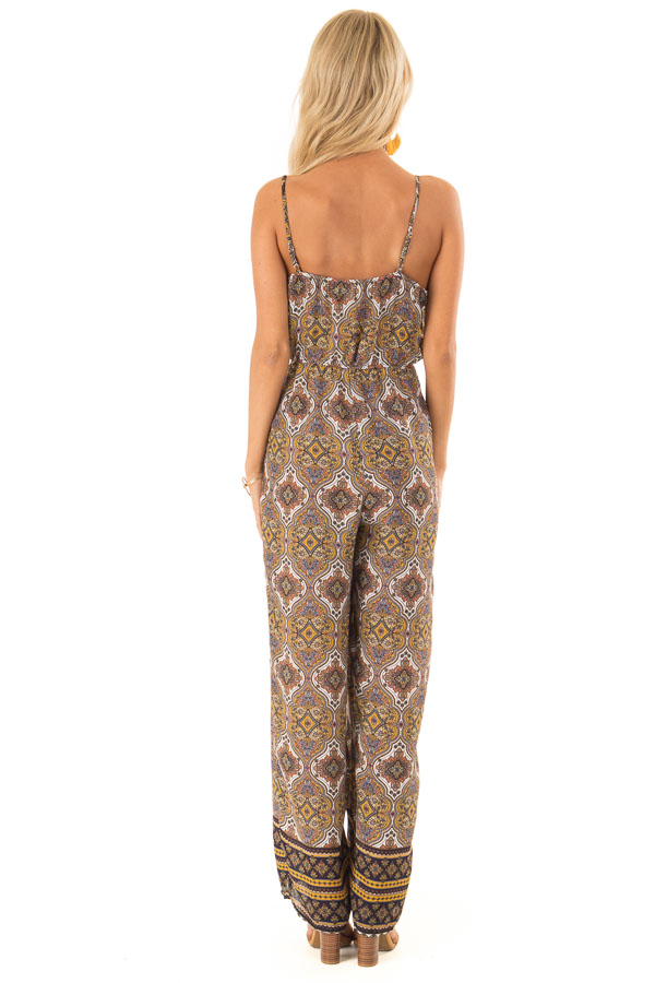 Mustard Multi Print Sleeveless Jumpsuit with Ruffle Overlay back full body
