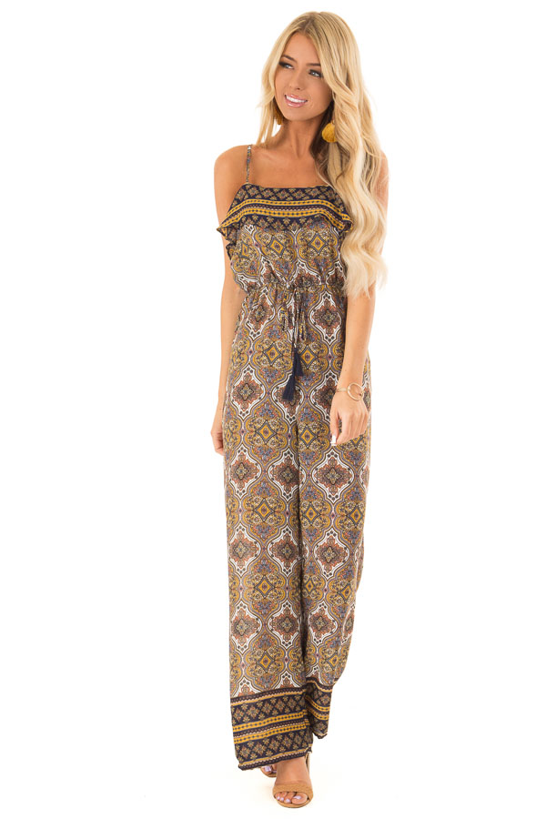 Mustard Multi Print Sleeveless Jumpsuit with Ruffle Overlay front close up