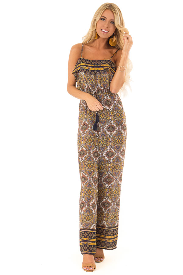 Mustard Multi Print Sleeveless Jumpsuit with Ruffle Overlay front full body