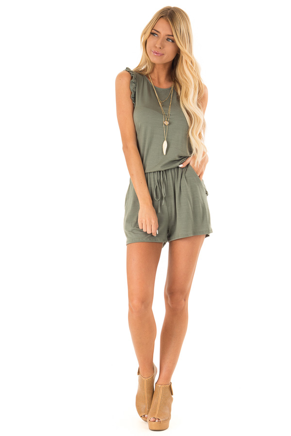 Fern Green Sleeveless Romper with Ruffles and Waist Tie front full body