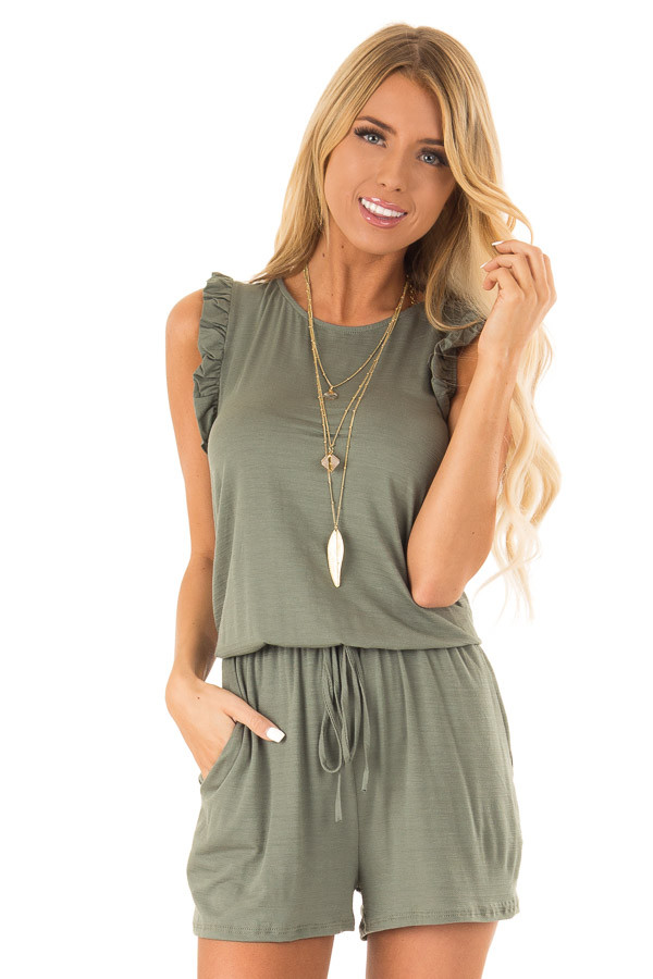 Fern Green Sleeveless Romper with Ruffles and Waist Tie front close up