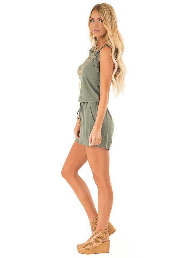 Fern Green Sleeveless Romper with Ruffles and Waist Tie side full body