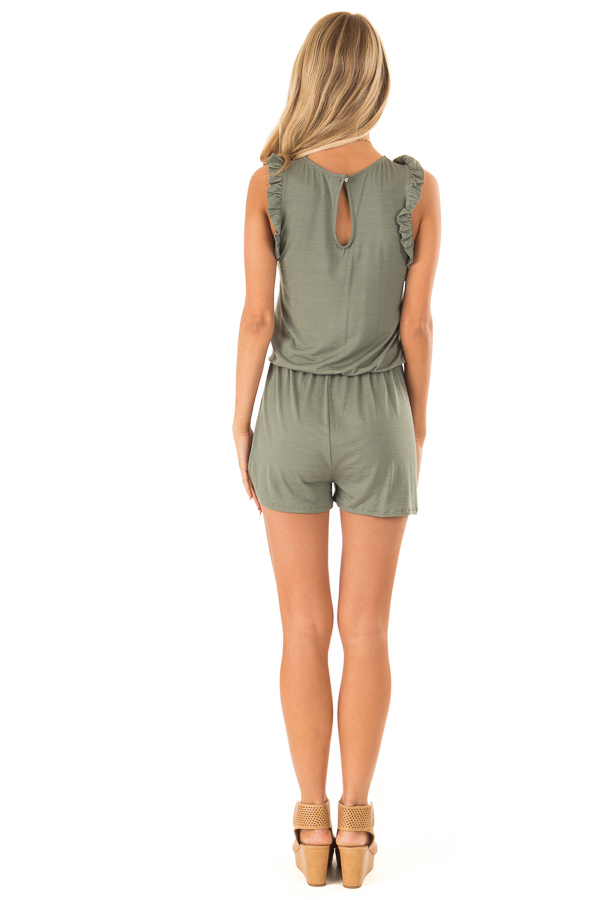 Fern Green Sleeveless Romper with Ruffles and Waist Tie back full body