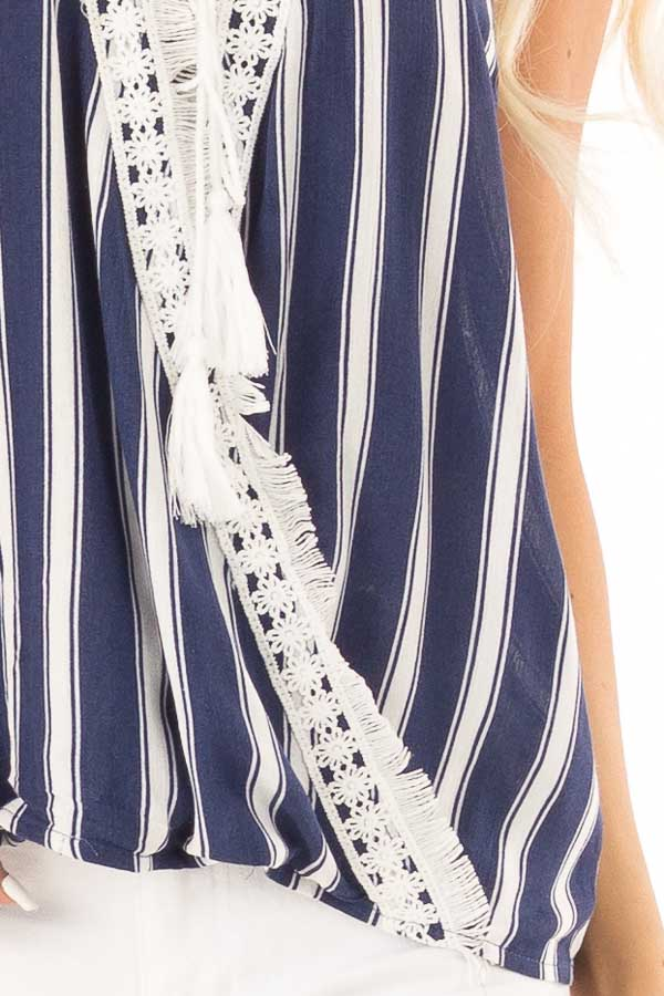 Navy Striped Crossover Tank with Lace and Fringe Detail detail