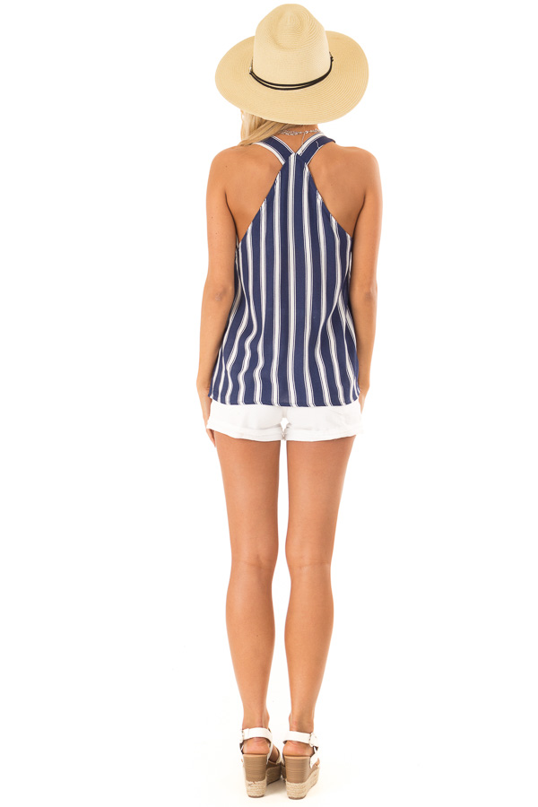 Navy Striped Crossover Tank with Lace and Fringe Detail back full body
