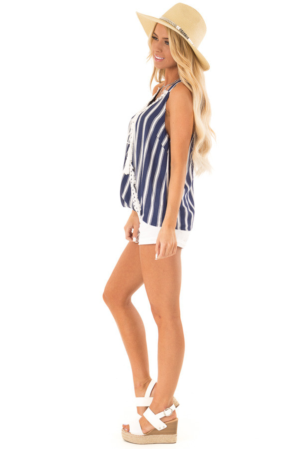 Navy Striped Crossover Tank with Lace and Fringe Detail side full body