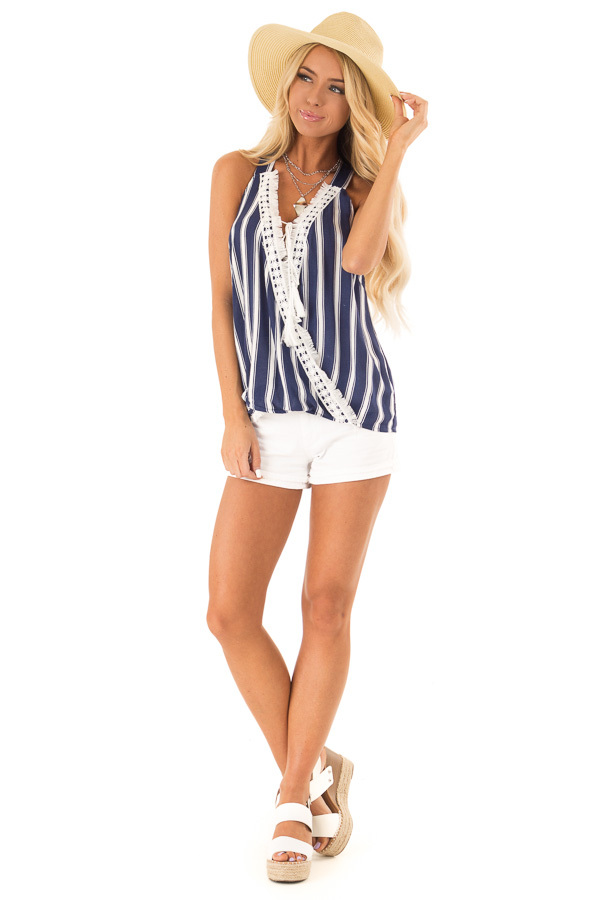 Navy Striped Crossover Tank with Lace and Fringe Detail front full body
