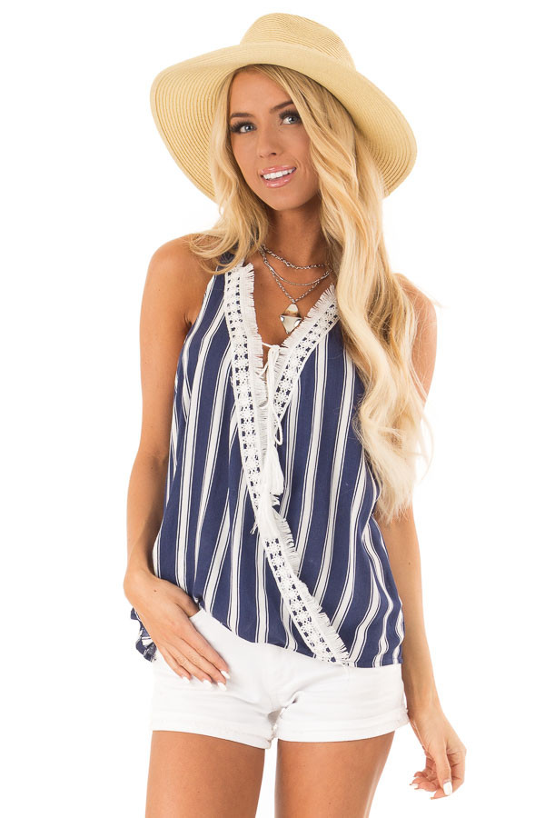Navy Striped Crossover Tank with Lace and Fringe Detail front close up