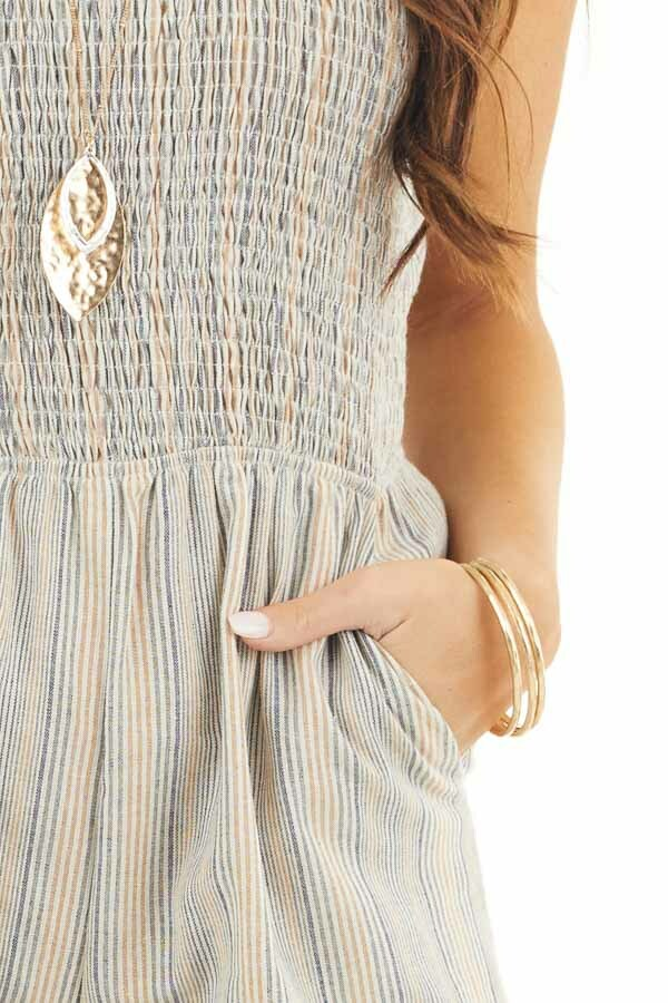 Multicolor Striped Jumpsuit with Smocked Detail