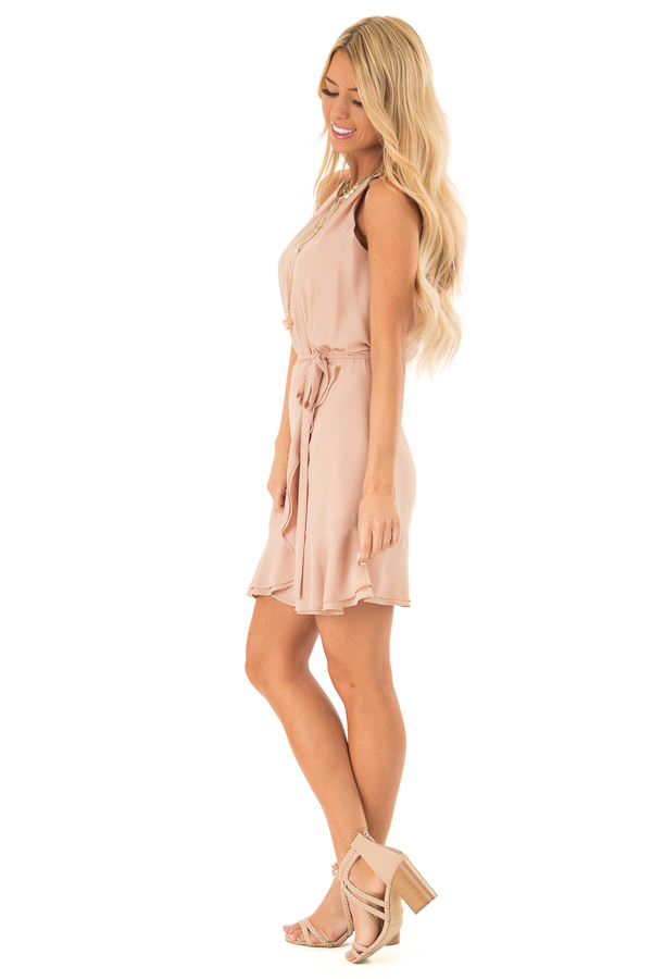 Cappuccino Dress with Wrap Style Skirt and Ruffle Trim side full body