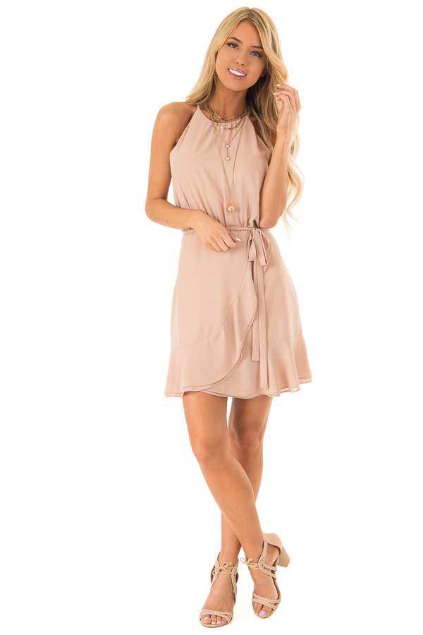 Cappuccino Dress with Wrap Style Skirt and Ruffle Trim front full body