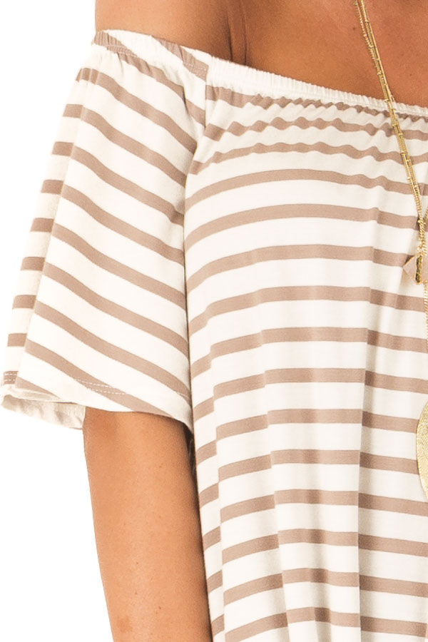 Mocha Striped Off the Shoulder Top with Front Tie detail