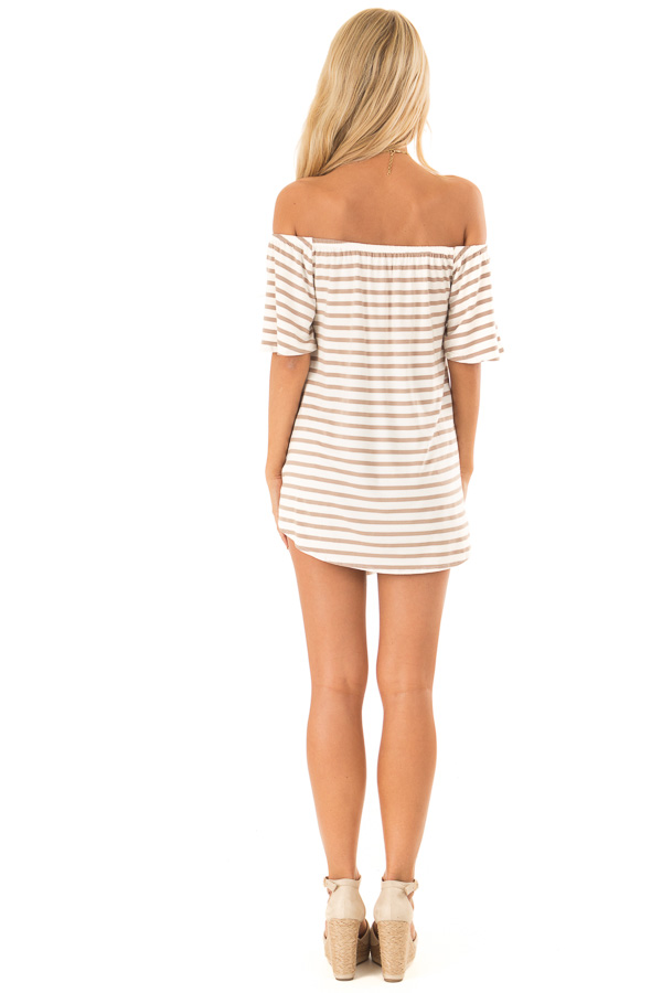 Mocha Striped Off the Shoulder Top with Front Tie back full body