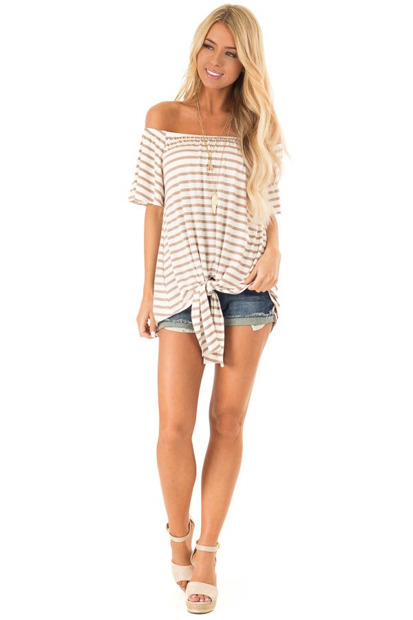 Mocha Striped Off the Shoulder Top with Front Tie front full body