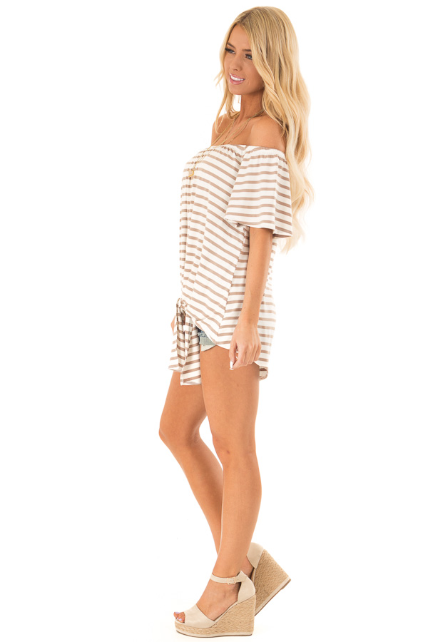 Mocha Striped Off the Shoulder Top with Front Tie side full body