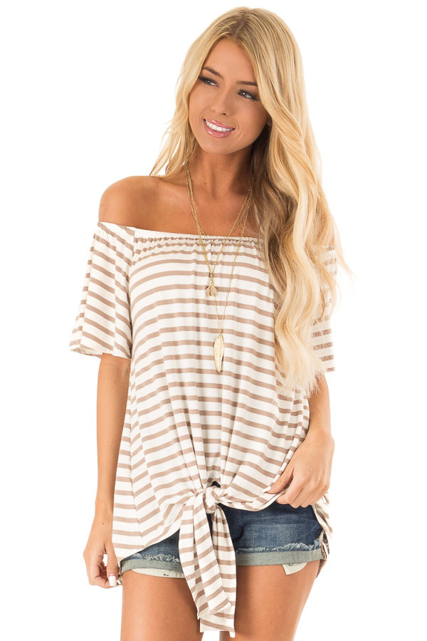 Mocha Striped Off the Shoulder Top with Front Tie front close up