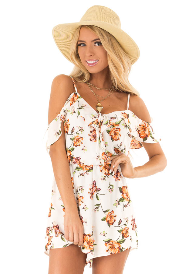 Off White Floral Cold Shoulder Surplice Romper with Ruffles front close up