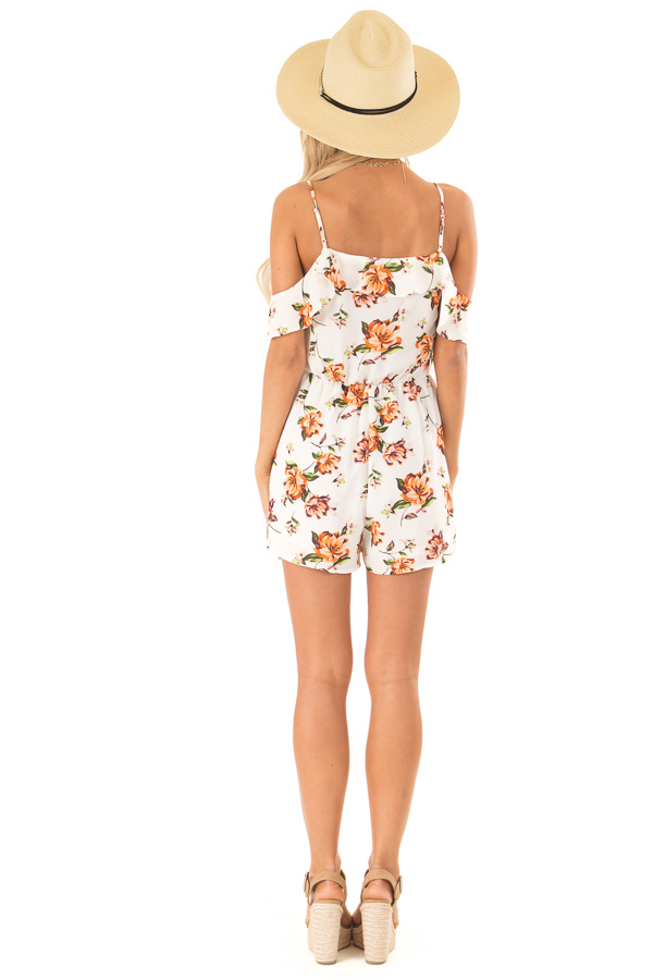 Off White Floral Cold Shoulder Surplice Romper with Ruffles back full body