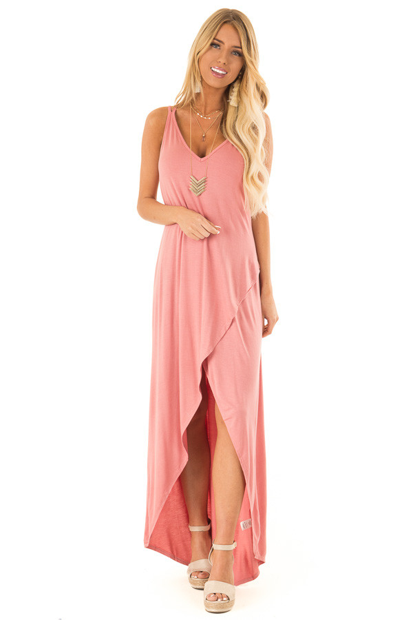 Dusty Rose High Low Dress with Criss Cross Strap Back front full body