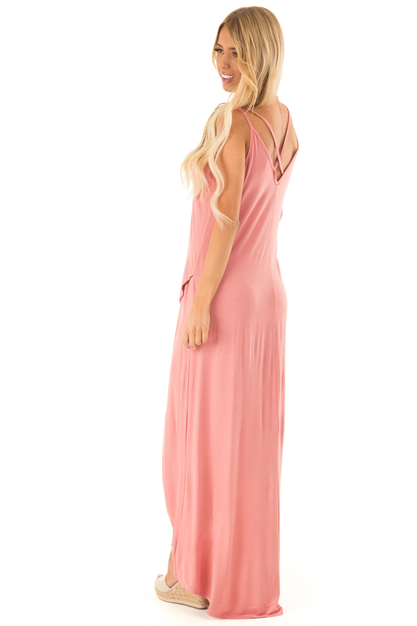 Dusty Rose High Low Dress with Criss Cross Strap Back side full body