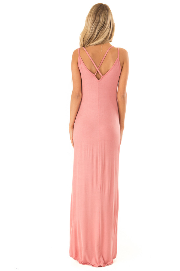 Dusty Rose High Low Dress with Criss Cross Strap Back back full body