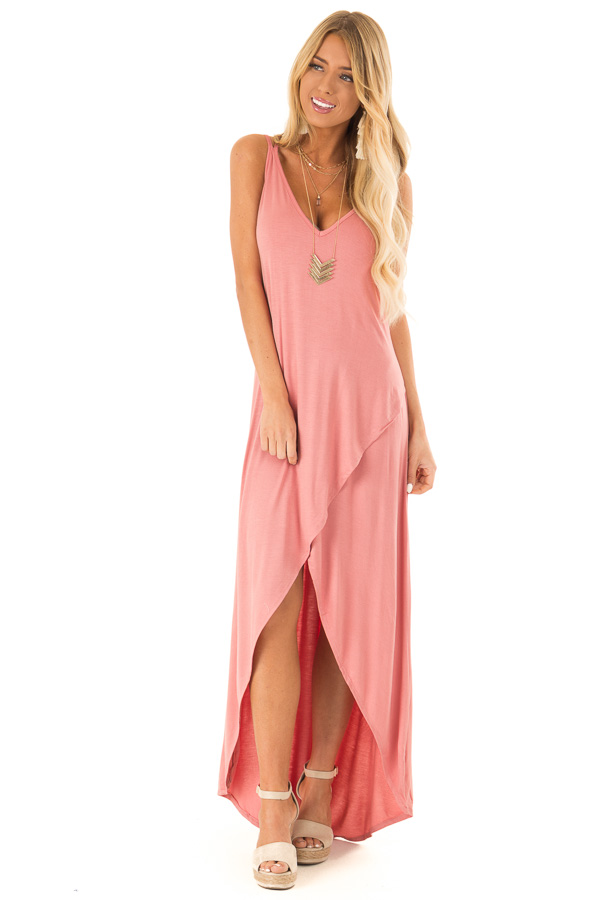 74477d97bf Dusty Rose High Low Dress with Criss Cross Strap Back