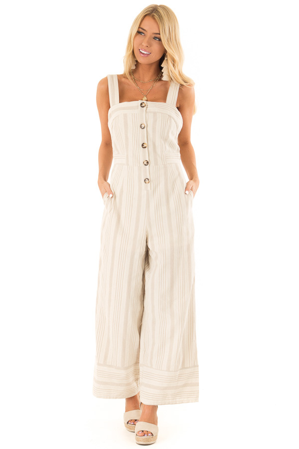 Oatmeal Striped Button Up Sleeveless Jumpsuit with Wide Legs front full body