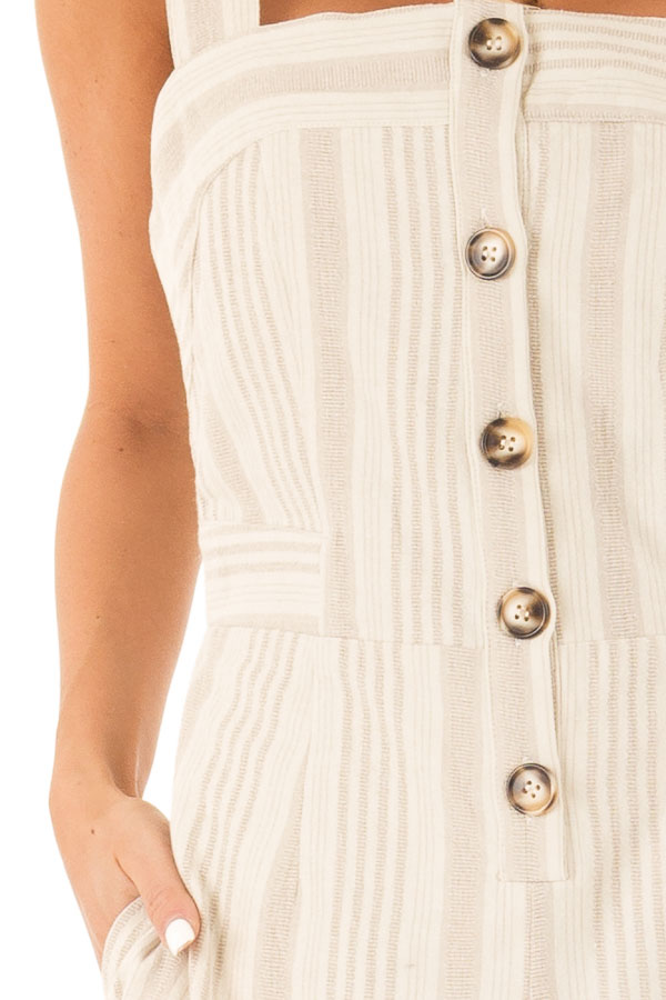 Oatmeal Striped Button Up Sleeveless Jumpsuit with Wide Legs detail