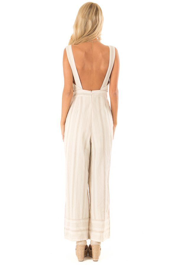 Oatmeal Striped Button Up Sleeveless Jumpsuit with Wide Legs back full body